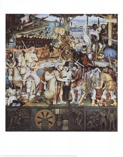 Disembarkation Of The Spanish At Veracru by Diego Rivera art print