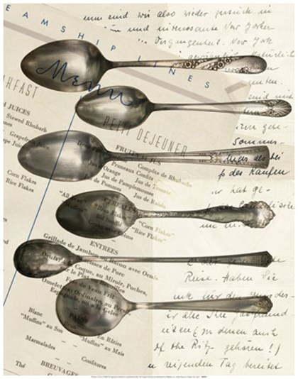 Cutlery Spoons In Sepia art print